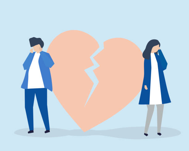 Character illustration of couple with a broke up icon